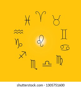 Astrological signs, Symbols of zodiac, horoscope, astrology and mystic signs vector illustration on a yellow background