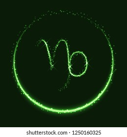 Astrological symbol of Capricorn. Abstract vector shiny western Zodiac Horoscope sign and crescent moon on dark green background.
