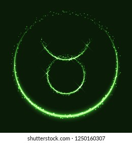 Astrological symbol of Taurus. Abstract vector shiny western Zodiac Horoscope sign and crescent moon on dark green background.