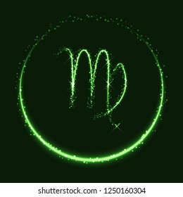 Astrological symbol of Virgo. Abstract vector shiny western Zodiac Horoscope sign and crescent moon on dark green background.