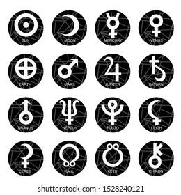 Astrological symbols of the planets for the horoscope and natal chart. Signs Sun, Moon, Mercury, Venus, Earth, Mars, Jupiter, Saturn, Uranus, Neptune, Pluto, Lilith, Ceres, Rahu, Ketu, Chiron.