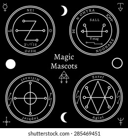 Astrological talismans set. Magical shape, creative religion icon, dark mysticism. Vector illustration