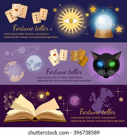 Astrology and alchemy banners alchemy magic open book fortune telling vector illustration