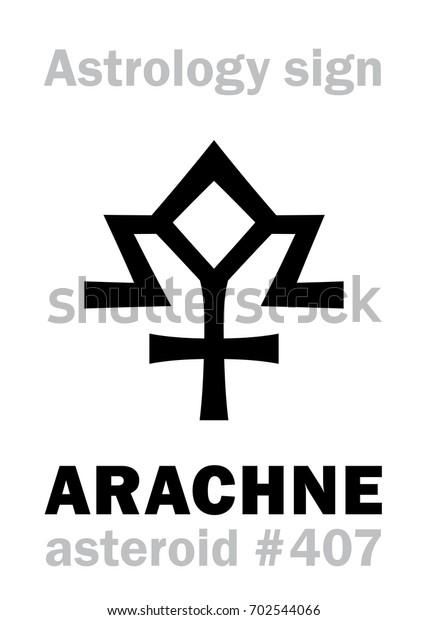 Astrology Alphabet Arachne Asteroid 407 Hieroglyphics Stock