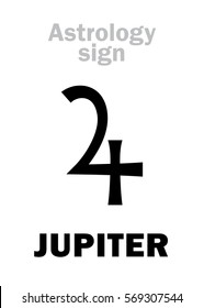 Astrology Alphabet: JUPITER (Jovis Pater), classic major social planet.  Hieroglyphics character sign (symbol, meaning: thunderbolt, eagle, or crosier).