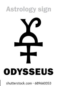 Astrology Alphabet: ODYSSEUS (Ulysses), asteroid #1143.  Hieroglyphics character sign (original single symbol).