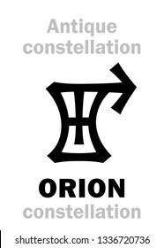Astrology Alphabet: ORION (The Divine Hunter / The Giant Warrior),  one of the three Ancient pre-historical Neolithic constellations.  Hieroglyphic character sign (Logo symbol).