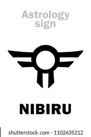 Astrology Alphabet: Orphan planet NIBIRU, The Rogue planet of Anunnaki (Aliens, the Ancient astronauts).  Hieroglyphics character sign (single symbol).