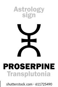 Astrology Alphabet: PROSERPINE (Persephone/Transplutonia), supreme hypothetic superdistant planet (behind Pluto).  Hieroglyphics character sign (single symbol).