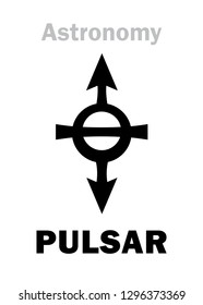 Astrology Alphabet: PULSAR, enigmatic source of the impulse radiation of distant galaxies in The Universe.  Hieroglyphics character sign (astronomical symbol).
