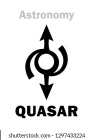 Astrology Alphabet: QUASAR, enigmatic supermassive brightest object of the Relict radiation of distant galaxies in The Universe.  Hieroglyphics character sign (astronomical symbol).