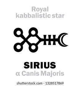 Astrology Alphabet: SIRIUS (α Canis Majoris / Sothis, Canicula), «Canis Major» (The Mouth of the Great Dog), oth.name: Dog Star.  Hieroglyphic sign (kabbalistic symbol by Cornelius Agrippa, 1533).