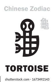 Astrology Alphabet: TORTOISE / TURTLE [龜] sign of Chinese Zodiac. Also: Black Tortoise («The Dark Warrior»), One of four Legendary auspicious beasts, Guardian of The North, supporting of The Earth.