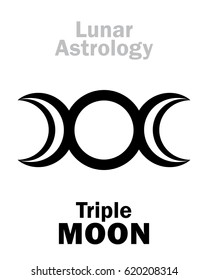Astrology Alphabet: Triple MOON (Threefaced Goddess: Maiden – Mother – Crone).  Hieroglyphics character sign (single symbol).