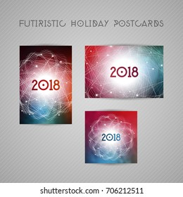 Astrology calendar cover or greeting card with circular futuristic pattern and glowing dots