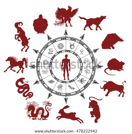 Astrology Chart Silhouettes Chinese Zodiac Animals Stock Vector