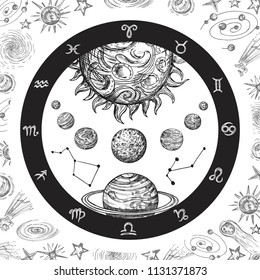 Astrology concept with planets. Hand drawn universe, planetary system and zodiac constellations. Line art vintage vector illustration. Astrology zodiac universe, constellation in space