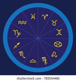 astrology and horoscope - gold signs of zodiac, vector illustration