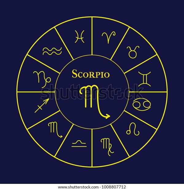 Astrology Horoscope Gold Signs Zodiac Vector Stock Vector (Royalty