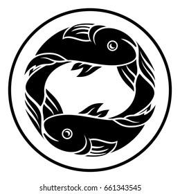 Astrology horoscope zodiac sign, circular Pisces fish symbol