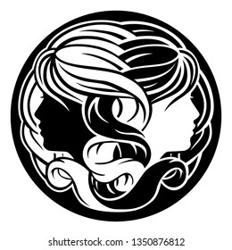 Astrology horoscope zodiac signs, circular Gemini twins symbol
