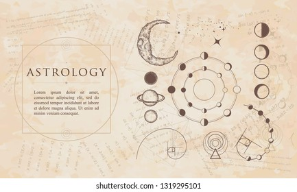 Astrology. Lunar phases, esoteric planets, moon, golden ratio. Renaissance background. Medieval manuscript, engraving art
