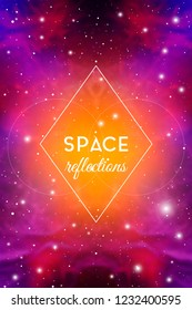 Astrology Mystic Galaxy Background. Outer Space. Vector Digital Colorful Illustration of Universe. Symmetrical Reflected Nebula Pattern.