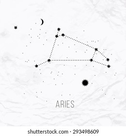 Astrology sign Aries on white paper background. Zodiac constellation and part of zodiacal system and ancient calendar. Mystic symbol with stars, sun, moon and dots. Western horoscope illustration.