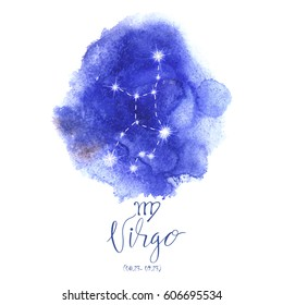 Astrology sign Virgo on blue watercolor background with modern lettering. Zodiac constellation with  shiny star shapes. Part of big collection