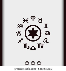 Astrology star with signs of zodiac. Horoscope vector icon isolated on white.