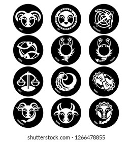 Astrology symbols, zodiac signs vector isolated icons