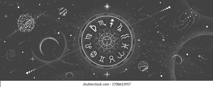 Astrology wheel with zodiac signs on outer space background. Star map. Horoscope vector illustration