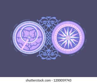 Astrology. Zodiac sign. Decorative astrolabe. Astronomical navigation.