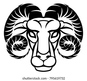 Astrology zodiac signs circular Aries ram horoscope symbol