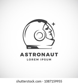 Astronaut Abstract Vector Sign, Emblem, Icon or Logo Template. Face in a Space Suit Helmet Silhouette Looking at the Star. Isolated.