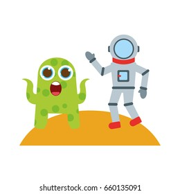 astronaut with alien comic character icon