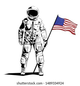 Astronaut with american flag stands in space helmet. First Man on the Moon. independence Day USA graphic modern print Vector illustration.