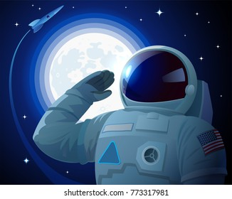 Astronaut in the American space suit salutes on the cosmic background with Moon, stars and flying rocket. US spaceman with blank badge hides his face under black filter of helmet. Vector retro poster.