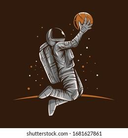 astronaut basketball slam dunk vector illustration design