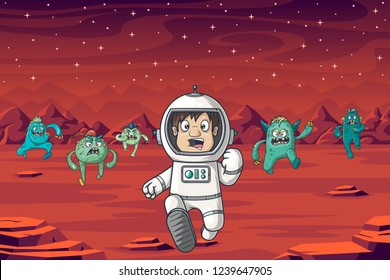 An astronaut is being chased by monsters on Mars