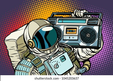 astronaut with Boombox, audio and music. Pop art retro vector illustration comic cartoon vintage kitsch drawing