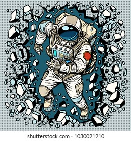Astronaut breaks the wall, leadership and determination. Pop art retro comic book vector cartoon vector illustration hand drawing