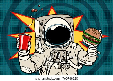 Astronaut with a Burger and drink. Pop art retro vector illustration