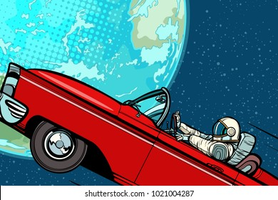 Astronaut in a car over the planet Earth. Pop art retro vector illustration comic cartoon hand drawn vector