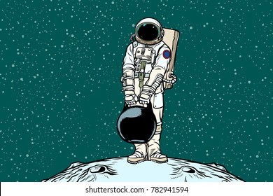 Astronaut with cargo weights. Pop art retro vector illustration
