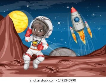 Astronaut Cartoon Character in Outer Space Suit on the Red Planet. Astronaut Girl Cheering and Wearing Astronaut Costume. Yellow Planet and Rocket ship in the Background. Cartoon  Vector Illustration