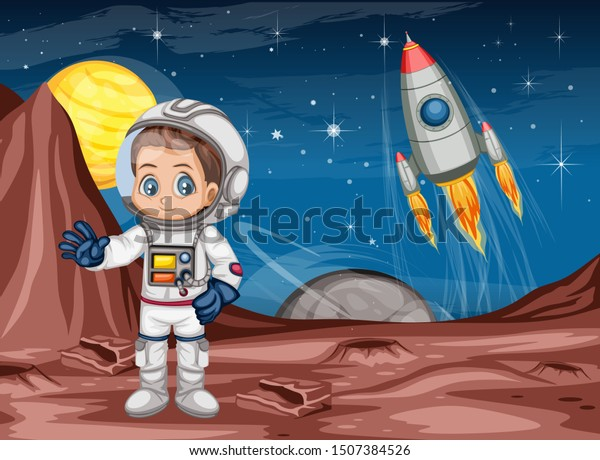 Astronaut Cartoon Character Outer Space Suit Stock Vector Royalty