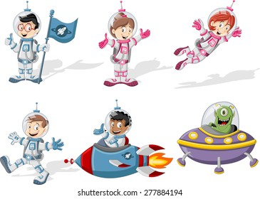 Astronaut cartoon characters in outer space suit with a alien spaceship