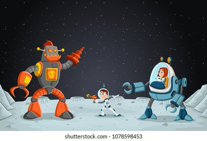 Astronaut cartoon children fighting a robot on the moon .Space background.
