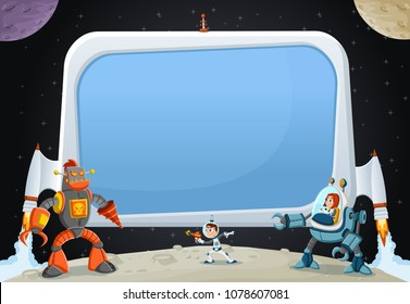 Astronaut cartoon children fighting a robot on the moon. Futuristic rocket screen board in the space.